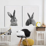 Rabbit Tail Poster Black and White - Cozy Nursery