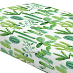 Green Painted Cactus Crib Sheet - Organic Cotton Fitted Crib Sheet - Cozy Nursery