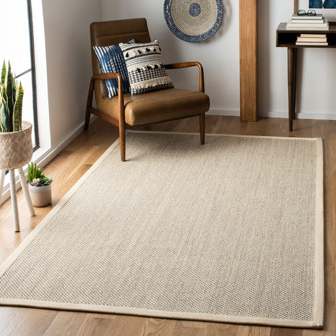 Safavieh Natural Fiber Collection NF143C Marble and Beige Sisal Area Rug (6' x 9') - Cozy Nursery
