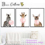 Animal Bubbles Horse Giraffe Dog Canvas Poster - Cozy Nursery