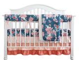 Coral Navy Floral Crib Bedding Set