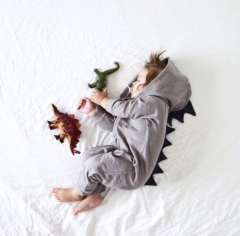 Lulu Dinosaur Jumpsuit (Grey) - Cozy Nursery