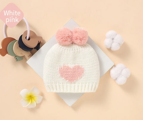 Knitted Heart Pompom Hat