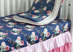 Navy Blue Floral Crib Bedding Set