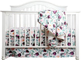 Pink Wine Floral Crib Bedding Set
