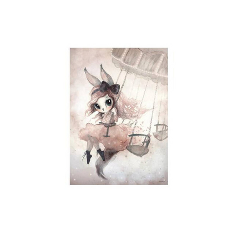 Bunny Flying in the Air Watercolor Poster - Cozy Nursery