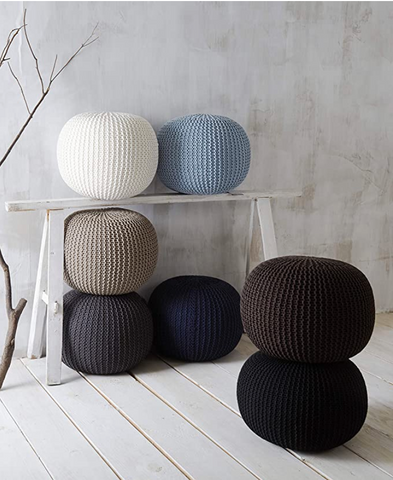 Knitted  Round Pouffe Ottoman - Cozy Nursery