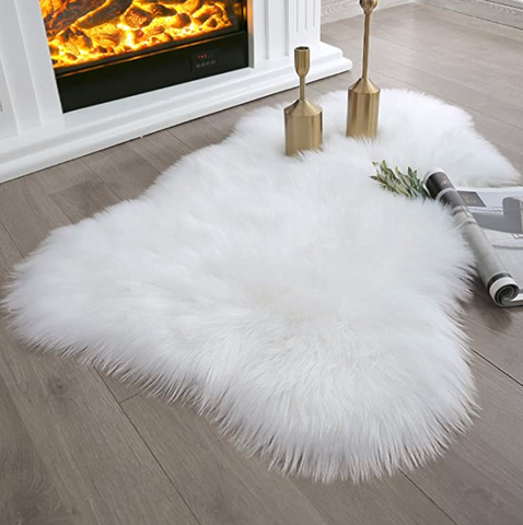Ivory Faux Sheepskin Area Rug