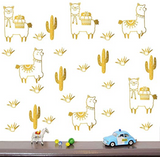 Alpaca and Cactus Wall Decals - Cozy Nursery