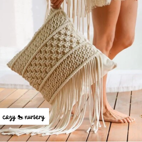 Boho Style Macrame Cushion Cover - Cozy Nursery