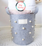 Pom-Pom Felt Storage Basket Toy Bin