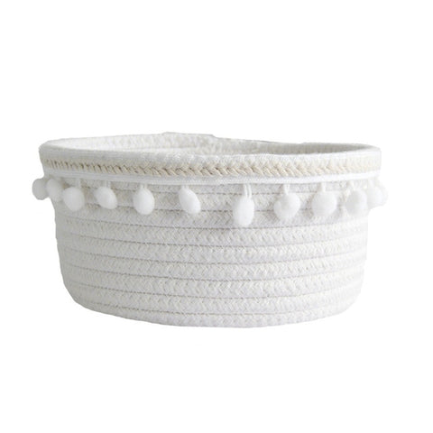 Cotton Rope Storage Baskets With Pompom