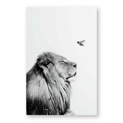 Black And White Lion Poster - Cozy Nursery