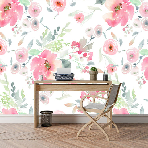 Vintage Watercolour Floral Wallpaper