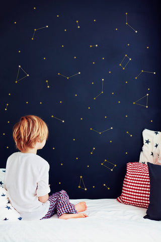 Gold Constellation Wall Decal - Cozy Nursery
