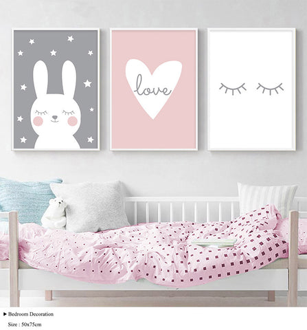 Nordic Rabbit Heart Eyelashes Poster - Cozy Nursery