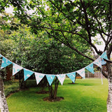 Blue & White Cartoon Animal Cotton Fabric Bunting 12 Flags 3.2m