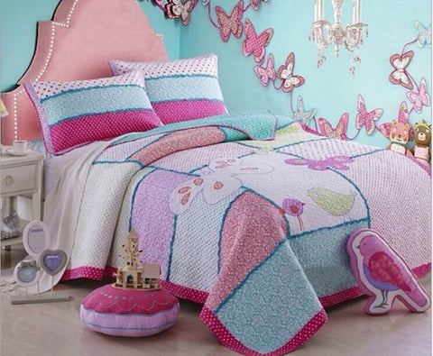 Handmade Patchwork Quilt Bird bedding set 180*220cm for kids