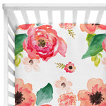 Baby Coral Watercolour Flowers Fitted Crib Sheet