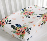Boho Floral Feathers Baby Changing Pad Cover - Cozy Nursery
