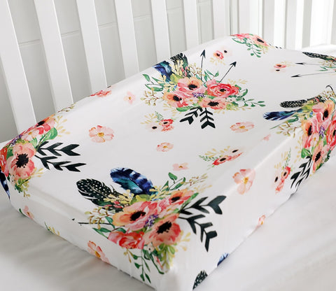 Boho Floral Feathers Baby Changing Pad Cover