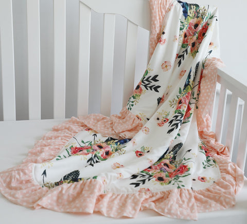 Boho Floral Feather Minky Baby  Ruffle Blanket