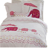 Embroidered Elephant Bedding Set 100%cotton 3pcs