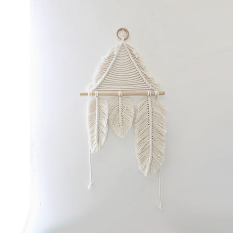 Hand-woven Feather Macrame Wall Tapestry - Cozy Nursery