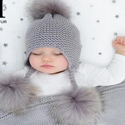 Baby Warm Knit Pompom Beanie - Cozy Nursery