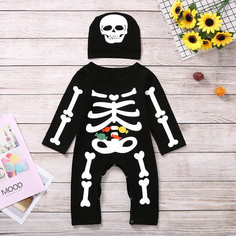 Halloween Baby Skeleton Romper and Hat