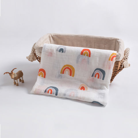 Rainbow BambooMuslin Swaddle 120*120cm - Cozy Nursery