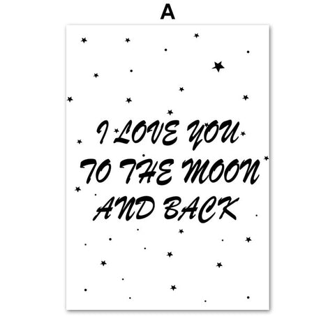 """I love you to the Moon and Back"" Poster - Cozy Nursery"