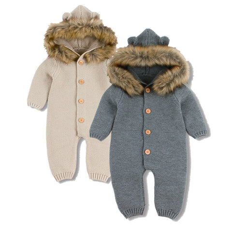 Winter Warm Children's Knitted Bear Rompers - Cozy Nursery
