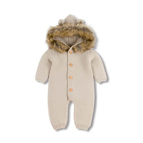 Winter Warm Children's Knitted Bear Rompers