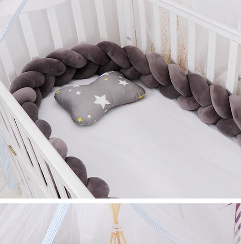 Dark Grey Braided Crib Bumper - Cozy Nursery