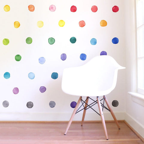 Watercolor Rainbow Dots Wall Decals