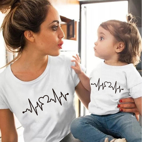 Heart Bit Matching T-shirt - Cozy Nursery
