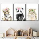 Baby Animals with Floral Crown Prints - Cozy Nursery