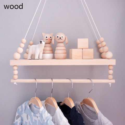Nordic Wooden Wall Shelf With Clothes Rack - Cozy Nursery