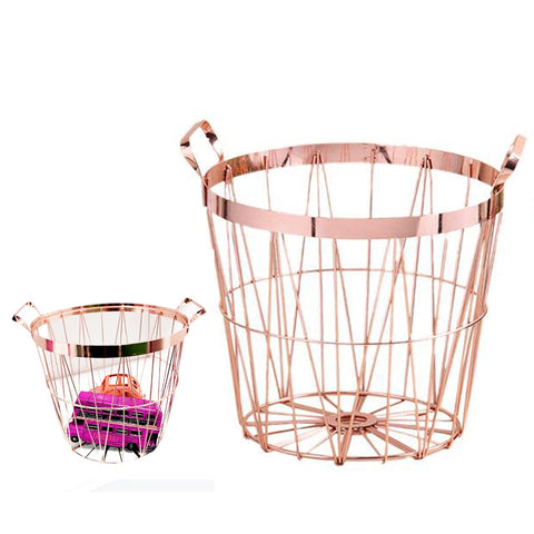 Rose Gold Metal Storage Basket
