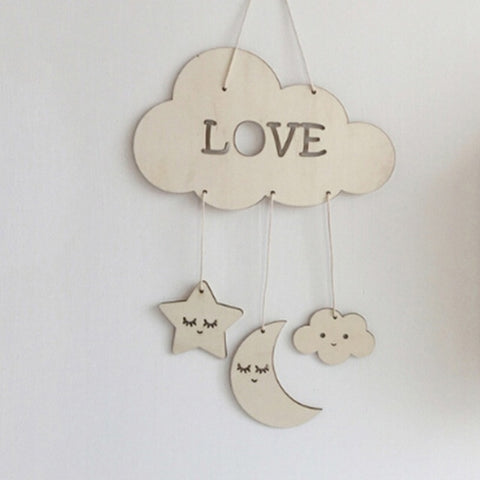 Wooden Moon Nursery Decor