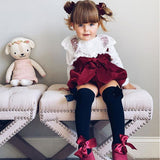 Lotus Lace Bow Pants Romper - Cozy Nursery
