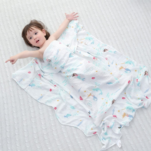 Mermaid Muslin Swaddle 120x120 - Cozy Nursery
