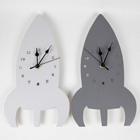 Space Rocket Wall Clock - Cozy Nursery