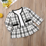 2Pcs Baby Girl Plaid Coat Dress