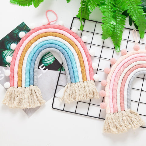 Rainbow Pom Pom Wall Decor