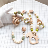 Knitted Wooden Stroller Toy and Pacifier Set - Cozy Nursery