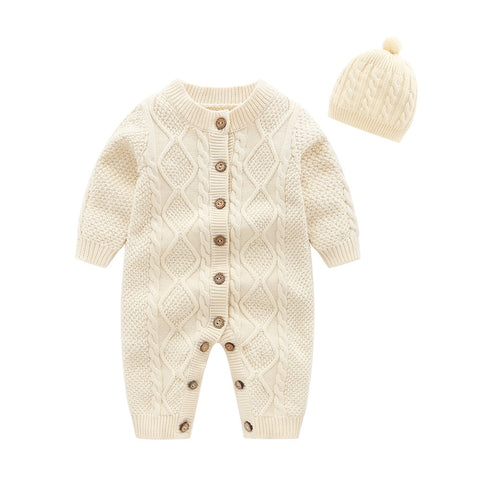 Baby Knitted  Romper with Hat