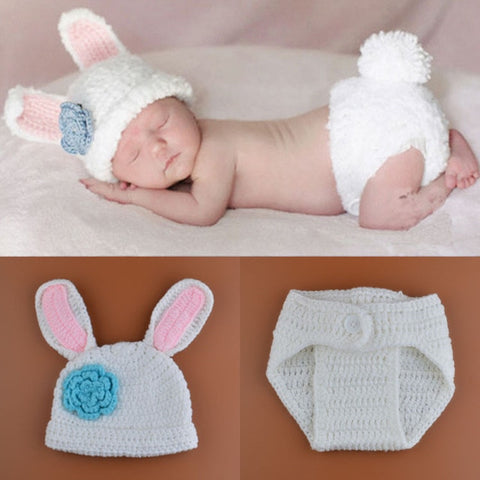 Newborn Bunny Crochet Hat + Short