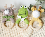 Zoo Animal Crochet Wooden Teether - Cozy Nursery